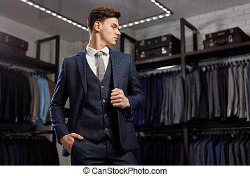 perfect, mode, leest, classieke, detail., mannen, beauty, moderne, jonge, elegant, suit., businessman., grit, mooi, fashion., man