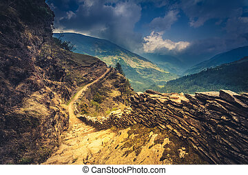 mountain trail - perfect mountain trail in the Himalaya,...