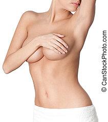 Perfect naked body, isolated, white background