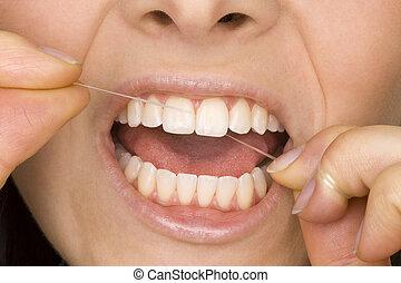 oral hygiene - perfect oral hygiene with dental floss