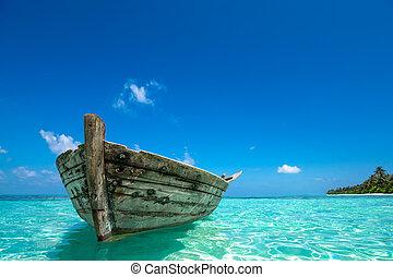 perfect, oud, eiland, tropische, paradijs, strand, scheepje
