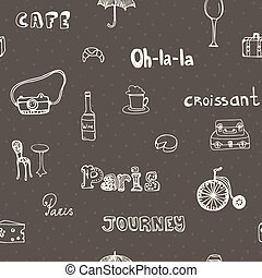 Perfect Paris seamless pattern with all symbols of a capital - tour Eiffel, carrousel, Notre dame de paris, cheese, wine. Vector Paris illustration.
