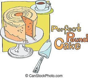 sliced cake on cake stand with a cup of tea and a spatula. series of vector illustrations of food
