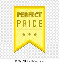Perfect price pennant icon, cartoon style