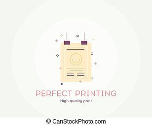 Perfect printing icon - Thin line flat design of High quality print Flat modern color icons