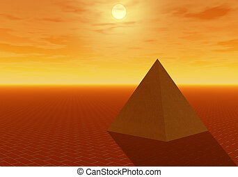 perfect pyramid - golden sunset shows golden pyramid sitting...