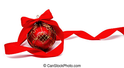 Perfect red christmas ball with ribbon isolated