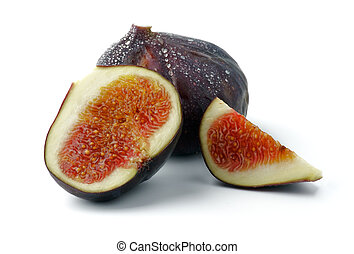 Figs - Perfect Ripe Figs full body and slices isolated on...