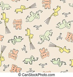 perfect, schattig, vector, roze, fabric., munt, model, kleuren, olifanten, seamless, gele, pastel, baby, zacht, vogels, coral.