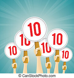 Vector illustration of several hands holding perfect 10 score signs.
