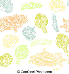 Perfect seamless vegetable pattern with onion, corn,...