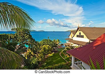 seascape view with a tropical hote
