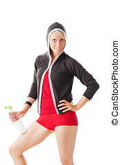 Perfect shaped female in fitness dress holding a water bottle