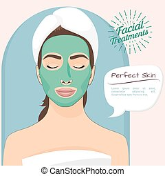 Perfect skin vector illustration. Beautiful woman with peeling green face mask