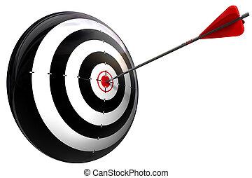 perfect, slaan, doel, richtingwijzer
