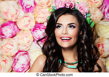 Perfect Smiling Woman with Summer Flowers