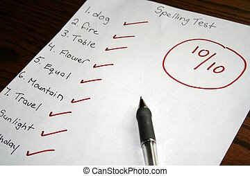 a spelling test showing a perfect score