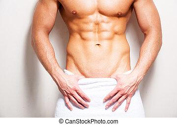 perfect, staand, close-up, baddoek, body., shirtless, jonge, tegen, achtergrond, bedekt, wit mannelijk, man