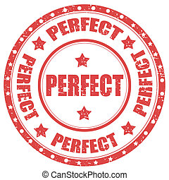 Perfect-stamp - Grunge rubber stamp with word Perfect, ...