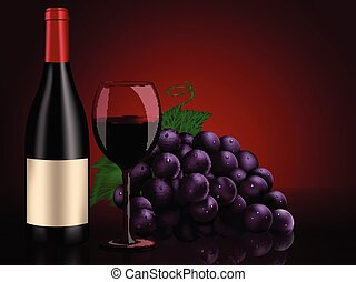 Perfect still life: red bottle wine, grapes and wine glass