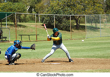 Batter about to swing at the perfect strike - taken at the Australian Masters Games held in Adelaide, South Australia in 2005