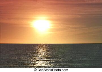 Perfect sunset beach sea vintage orange sky