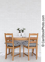 Perfect table for two - Simple wood table and two chairs ...