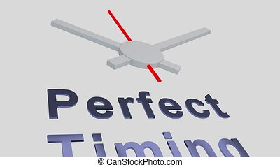 Perfect Timing title with a clock as a background - 3D...