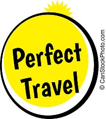 PERFECT TRAVEL stamp on white background