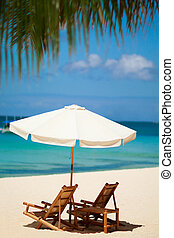 Perfect vacation - Beach chairs on perfect tropical white ...