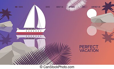 Perfect vacation on luxury yacht, boat, palm tree leaf, ...