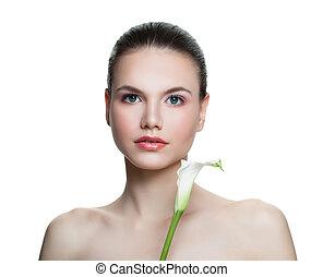 perfect, vrouw, gezonde , duidelijk, vrijstaand, huid