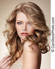 perfect, vrouw, gezonde , huid, verfijnd, haar, blonde , ...