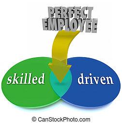 perfect, werknemer, venn diagram, bekwaam, driven,...