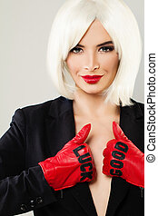 Perfect Woman Fashion Model with Blonde Bob Hairstyle. Healthy Hair and Makeup