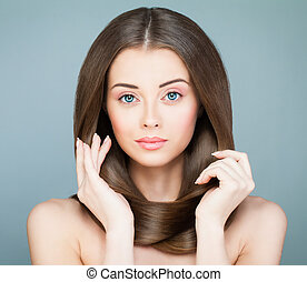 Perfect Woman Fashion Model with Long Brown Hairstyle. Beautiful Spa Model with Healthy Hair