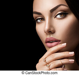 Perfect woman lips with fashion natural beige matte lipstick makeup