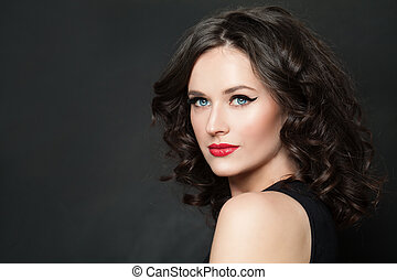 Perfect young model woman with makeup portrait