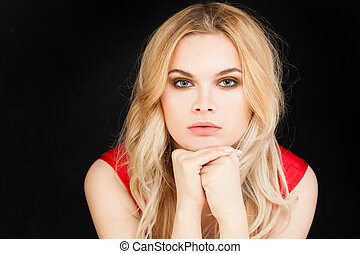 Perfect Young Woman Portrait. Cute Blonde Girl on Black Background