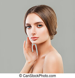 Perfect Young Woman with Healthy Skin, Skincare Concept