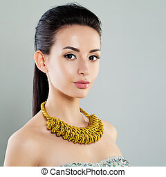 Perfect Young Woman with Jewelry Necklace