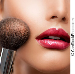 perfecte huid, schoonheidsmiddel, poeder, make-up, brush., closeup.