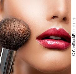 perfecte huid, schoonheidsmiddel, poeder, make-up, brush., closeup.