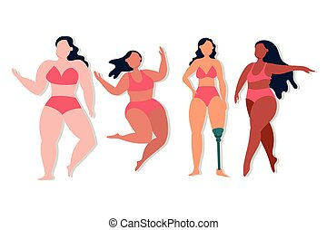 perfectly imperfect group of different girls vector illustration design