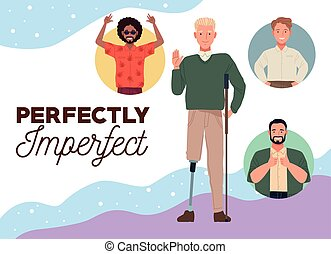 perfectly imperfect people group characters with colors background vector illustration design