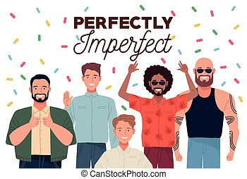 perfectly imperfect people group characters with confetti vector illustration design