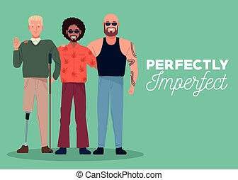 perfectly imperfect three persons in green background vector illustration design