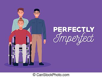 perfectly imperfect three persons in purple background vector illustration design