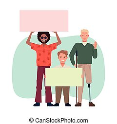 perfectly imperfect three persons lifting banners vector illustration design