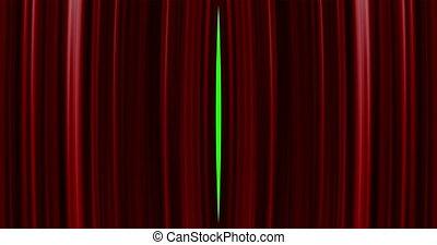 perfectly, otwarcie, jakość, ekran, przejście, wysoki, tło., zielony, 4k, included., kurtyna, ultra, rozkład, hd, czerwony